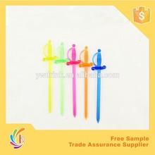 colorful sword shape plastic decorative fork ,small plastic forks