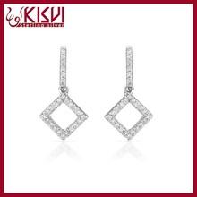 925 Sterling Silver Square Diamond Drop Earring Wholesale , Rhinestone Rook Earring