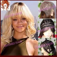 2015 Popular New Design Silk Top Rihanna Style White Short Hair Custom Wig