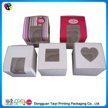 Beautiful mini packaging die cut cupcake cake box printing / Gift Paper Box With PVC window