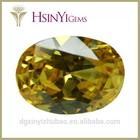 Golden yellow oval shape cubic zirconia gemstone wholesale