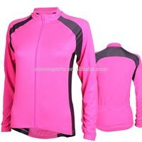 Cheap plain long sleeve cycling jersey custom women cycling garment