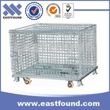Stacking Steel Storage Movable Wire Basket Cage With Wheels