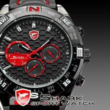 SHARK Men's 6 Hands Day Date Analog Sport Genuine Leather Quartz Watch