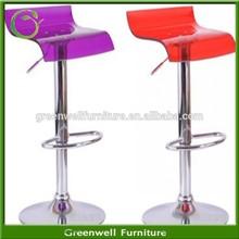 Transparent clear plastic seat chromed legs acrylic bar stools