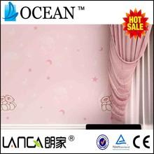 pink nonwoven cartoon star moon wallpaper children room decor