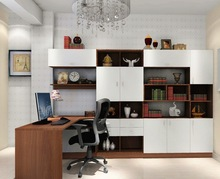 Modern Saving Space Wooden Bookcase With Computer Desk Combination