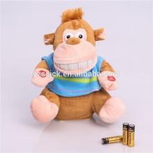 Good quality funny big mouth and big teeth movement monkey plush toy