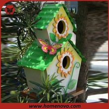 Two-tier bird house with painting