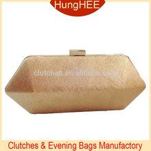 Beautiful Elegant Ladies Golden Hexagon Hard Case Handbags Purses PU Leather Evening Clutch Bags