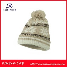Snowflake Pattern Long Winter Ski Knitting Pom Beanie Hat