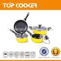 Yellow aluminum press nonstick coated 7pcs cookware