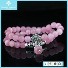 DIY Wholesale 8 mm Pink Opal String of Beads Fashion Jewellery Women's Bracelet