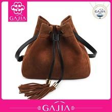 latest vintage suede fringed genuine leather messenger bag for woman