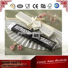 small MOQ and cheap bamboo plain silk fan with box