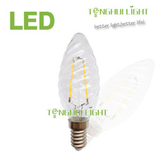 3w e14 twist candle led filament bulb, CE/SAA approval led filament lamp