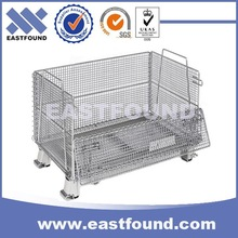 Folding Steel Container Collapsible Storage Metal Pallet Cage For Sale
