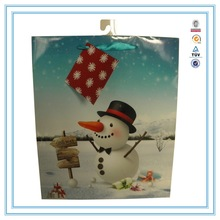 2015 christmas decoration snowman printed luxury paper shopping bag