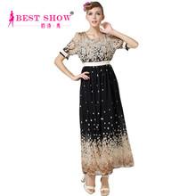2015 Clothes Fashion Trendy Plus Size Summer Short Sleeve Chiffon Long Maxi Dresses Women Fashion Women Dress 2015 (5305)
