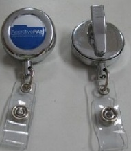 Badge Reel Type metal chrome finish round retractable badge reel with alligator clip in high quality