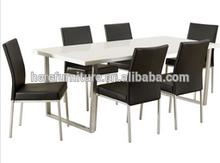 Modern high gloss dining table set with chrome leg