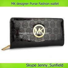 mirror effect mk designer purse embossed zipper trifold pu woman wallet brand