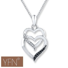 Latest Design Sterling Silver Double Heart Necklace Pave Black and White Zircon