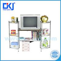 HKJ-B079 NSF sector TV DIY wire mesh shelving rack for liviing room or study room