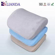Perfectly portable with integrated strapping system memory foam lumbar cushion with fit elastic