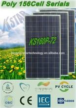 price for solar panels/A grade poly 160W solar panel(KS160P-72) on zhejiang solar panel