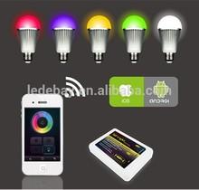 Hot selling Intelligent Residential lighting wifi controlled RGBW LED Bulb light 9W E27 85V-277V