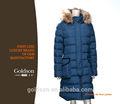 Russo estilo alta qualidade longa das mulheres revestimento para baixo/inverno senhora baixo casaco com pele de guaxinim