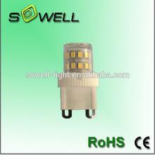 AC220V 2W 2835SMD 27pcs 2700-3000K/6500-7000K CE RoHS ceramic+PC G9 LED corn light Bulbs
