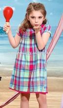 woven fabric short sleeve girl dress for baby girl