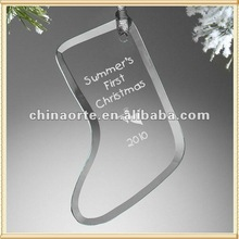 Clear Stocking Glass Ornaments For Xmas Decoration
