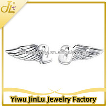 Fashion silver number angel wing earring