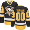 Pittsburgh penguins personalizado personalizado preto/azul royal/branco jersey hóquei no gelo, qualquer número& nome, todas as costuras, oem