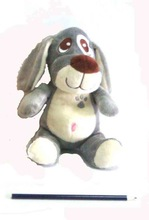 promotional gifts cheap price 18cm Animal design toy plush grey dog with big embroidery eyes