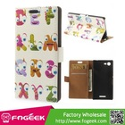 Cute Animal Pattern PU Leather Wallet Case w/ Stand for Sony Xperia E3 D2203 D2206 / E3 Dual SIM