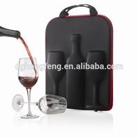 customized EVA wine gift packing 750ml champagne & goblet carrier