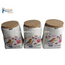 3 pcs ceramic canister tea coffee sugar set with cork