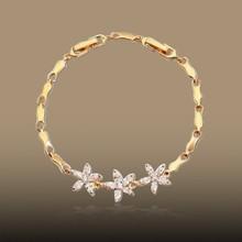 Life be beautiful like summer flowers gold plated zircon women bracelet
