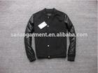 2015 casual men's splicing imitation leather sleeve baseball jacket