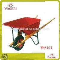 Construction plant wheelbarrow Wood handles Red metal tray WH6404