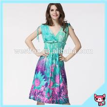 Sky blue ice silk african print dress