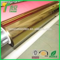 Gold Plastic Hot Laminating Film / PET Based EVA Thermal Film PET Metal Lamin Film xxx