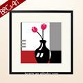 الأحمر خلاصة الزهور المصنوعة يدويا رسم صورة مع الحبر الآبار