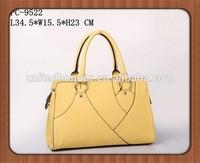 Promotion Cheap PU Leather Ladies elegant yellow color Handbags 2014