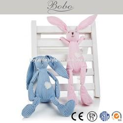 stuffed custom plush toy animal bunny rabbit with stripe farbic body