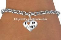 Trending zinc alloy sport series letter i love golf antique silver plated heart shape charm bracelets for men